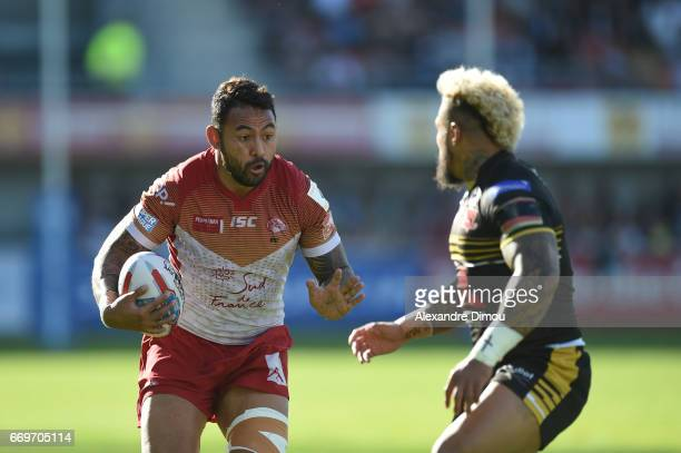 Krisnan Inu of Dragons and Junior Sa U of Salford during the Betfred Super League match between Catalans Dragons and Salford Red Devils on April 17...