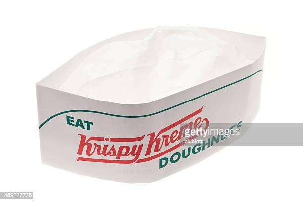 krispy kreme chefs hat - krispy kreme doughnuts stock pictures, royalty-free photos & images