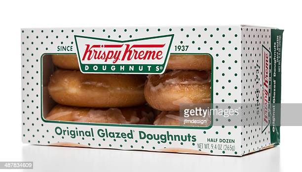 krispy kreme original glazed doughnuts half dozen box - krispy kreme doughnuts stock pictures, royalty-free photos & images