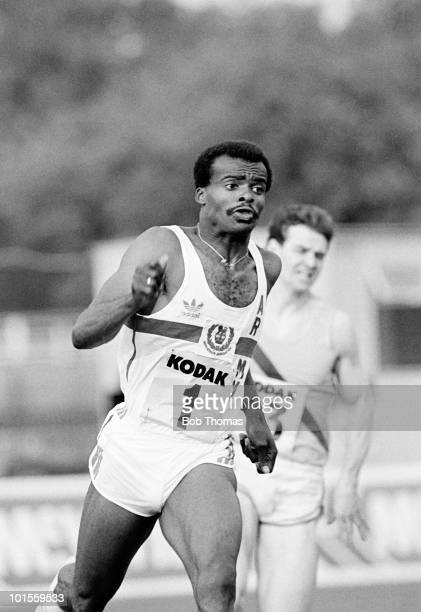 Kriss Akabusi of Great Britain during the 400m race at the Kodak AAA Championships held at Crystal Palace, London on the 20th June 1986.