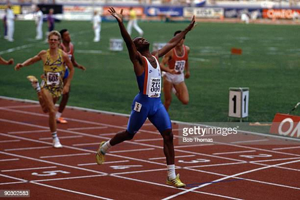 Kriss Akabusi of Great Britain wins the men's 400m hurdles at the 15th European Athletics Championships held in Split, Yugoslavia during August 1990....