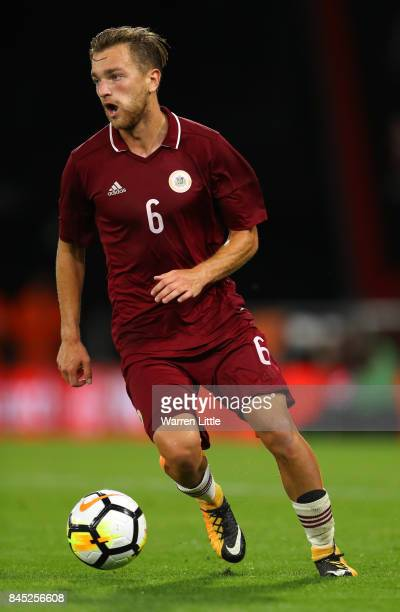 Kriss Karklins of Latvia in action during the UEFA Under 21 Championship Qualifiers between England and Latvia at the Vitality Stadium on September 5...