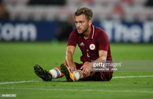 Kriss Karklins of Latvia U21 during the UEFA Under 21 Championship Qualifier match between England and Latvia at Vitality Stadium on September 5 2017...