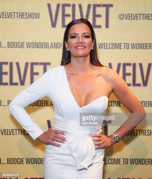 Krissy Marsh arrives ahead of the VELVET opening night at Roslyn Packer Theatre on July 27 2017 in Sydney Australia