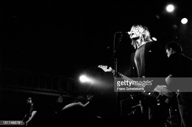 Krist Novoselic, bass and Kurt Cobain, guitar-vocal , of Nirvana perform at the Paradiso on 25th November 1991 in Amsterdam, Netherlands.