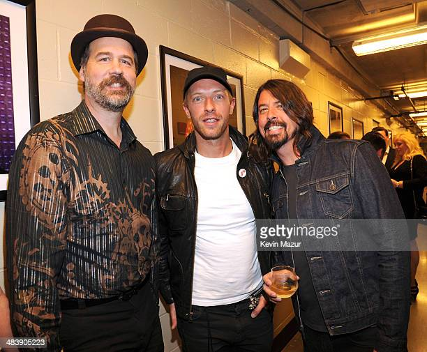 Krist Novoselic Chris Martin and Dave Grohl attend the 29th Annual Rock And Roll Hall Of Fame Induction Ceremony at Barclays Center of Brooklyn on...
