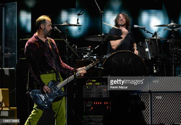Krist Novoselic Dave Grohl and Sir Paul McCartney perform at '121212' a concert benefiting The Robin Hood Relief Fund to aid the victims of Hurricane...