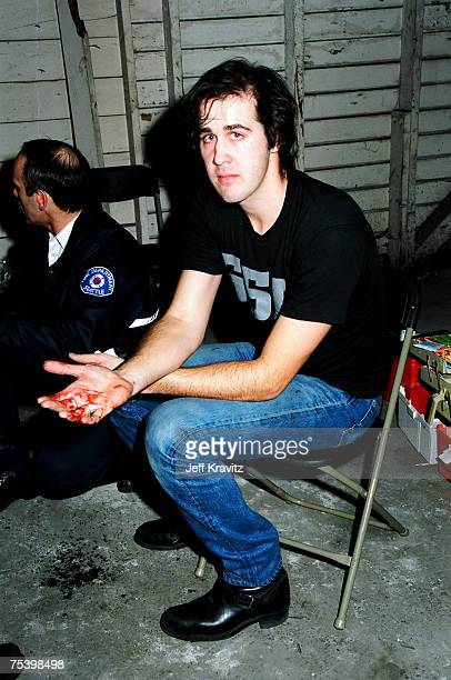 Krist Novoselic of Nirvana and firefighters backstage