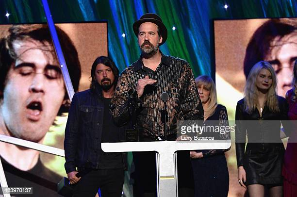 Krist Novoselic of Nirvana speaks onstage at the 29th Annual Rock And Roll Hall Of Fame Induction Ceremony at Barclays Center of Brooklyn on April...