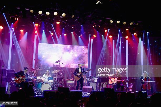 Krist Novoselic recording artists Beck Dave Grohl and Pat Smear perform onstage during the 2016 PreGRAMMY Gala and Salute to Industry Icons honoring...
