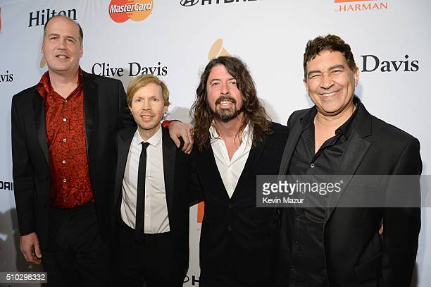 Krist Novoselic, recording artists Beck, Dave Grohl, and Pat Smear attend the 2016 Pre-GRAMMY Gala and Salute to Industry Icons honoring Irving Azoff...