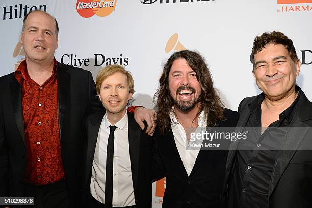 Krist Novoselic recording artists Beck Dave Grohl and Pat Smear attend the 2016 PreGRAMMY Gala and Salute to Industry Icons honoring Irving Azoff at...