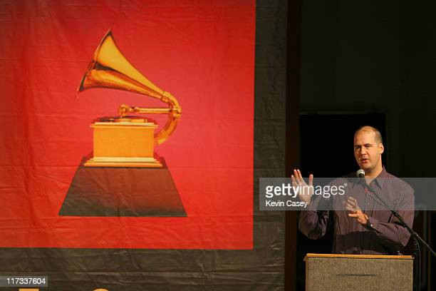 Krist Novoselic speaks to Tacoma area High School students that are participating in the GRAMMY workshops on forum by several leaders in the industry