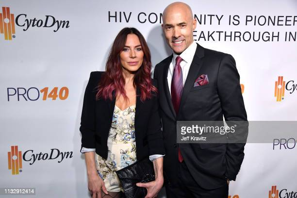 Krista Allen and Chris Clark attend CytoDyn's Pro 140 Awareness Event for HIV and Cancer Prevention at The Roosevelt Hotel in Hollywood on February...