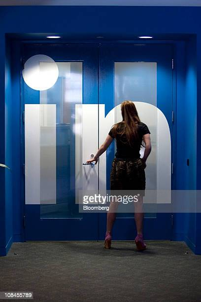 Krista Canfield senior public relations manager for LinkedIn Corp walks into an office at company headquarters in Mountain View California US on...