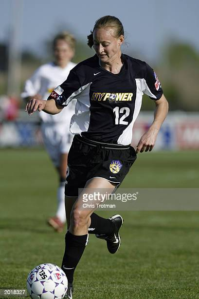 Krista Davey of the New York Power controls the ball during the Powers loss to the Philadelphia Charge at Mitchel Athletic Complex on May 17 2003 in...