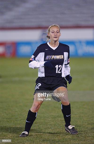 Krista Davey of the New York Power during the WUSA game against the Boston Breakers in Richmond Virginia on March 23 2002 The Breakers won 21