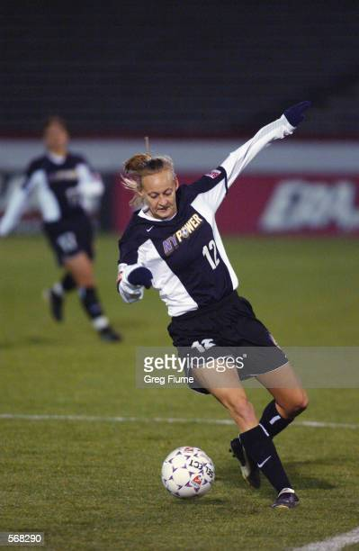 Krista Davey of the New York Power in action during the WUSA game against the Boston Breakers in Richmond Virginia on March 23 2002 The Breakers won...