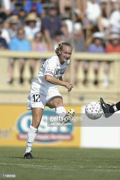 Krista Davey of the New York Power passes the ball during the WUSA game against the San Jose Cyberrays on July 27 2002 at Spartan Stadium in San Jose...