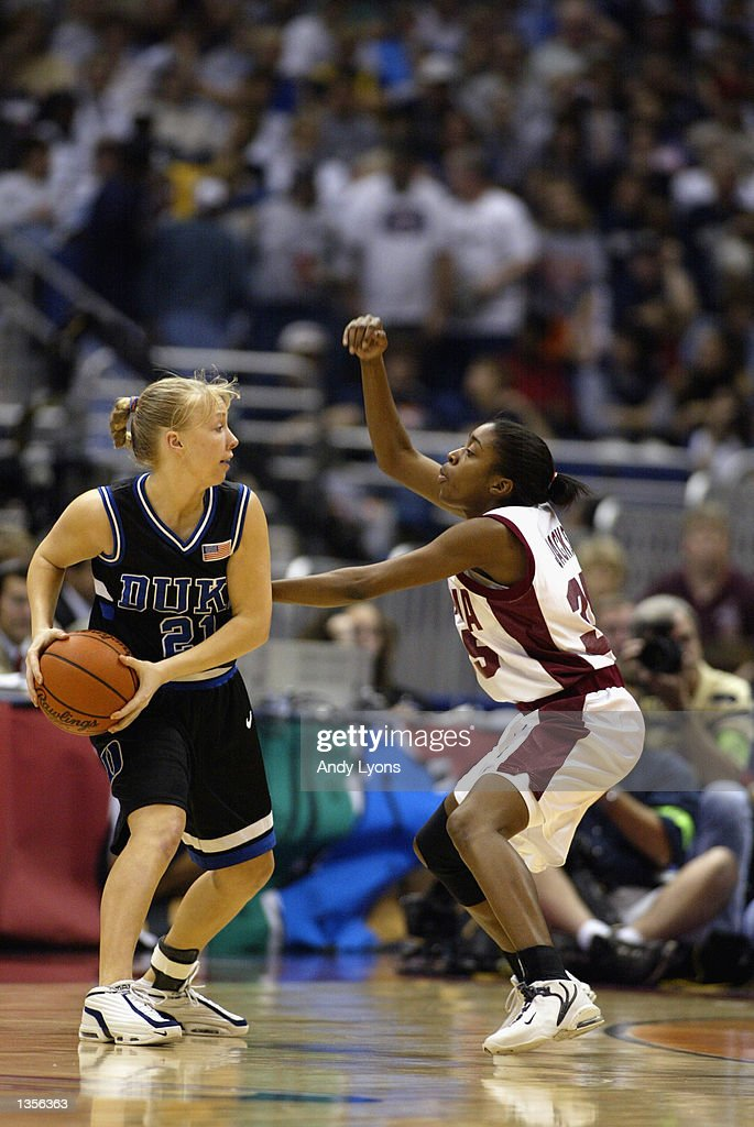 Krista Gingrich 21 Of The Duke University Blue Devils Is Defended By Dionnah Jackson