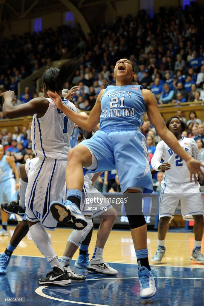 Krista Gross #21 of the North Carolina Tar Heels reacts while falling during a game against the Duke Blue Devils at Cameron Indoor Stadium on March 3, 2013 in Durham, North Carolina. Duke defeated North Carolina 65-58.