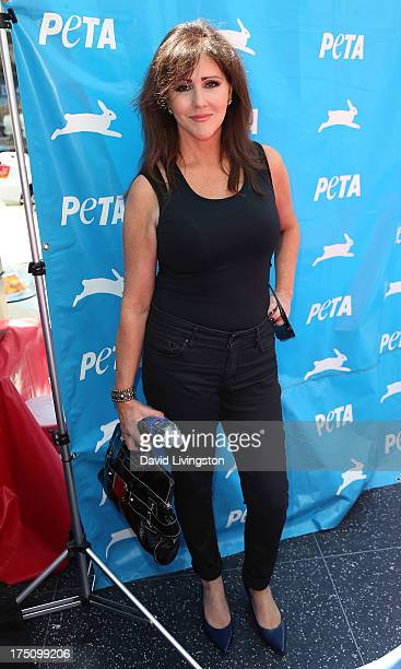 Krista Keller attends her daughter TV personality Courtney Stodden posing in a lettuce leaf bikini For PETA at Hollywood Highland Center on July 31...