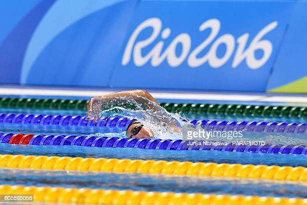 Krista of FRANCE competes in the WOMEN'S 400M FREESTYLE S10 HEAT on day 8 of the Rio 2016 Paralympic Games at Olympic Aquatics Stadium on September...