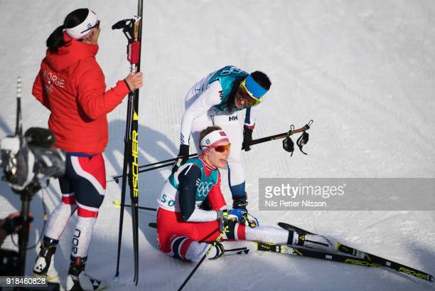 Krista Parmakoski of Finland and Ragnhild Haga of Norway during the women's 10k free technique Cross Country competition at Alpensia CrossCountry...