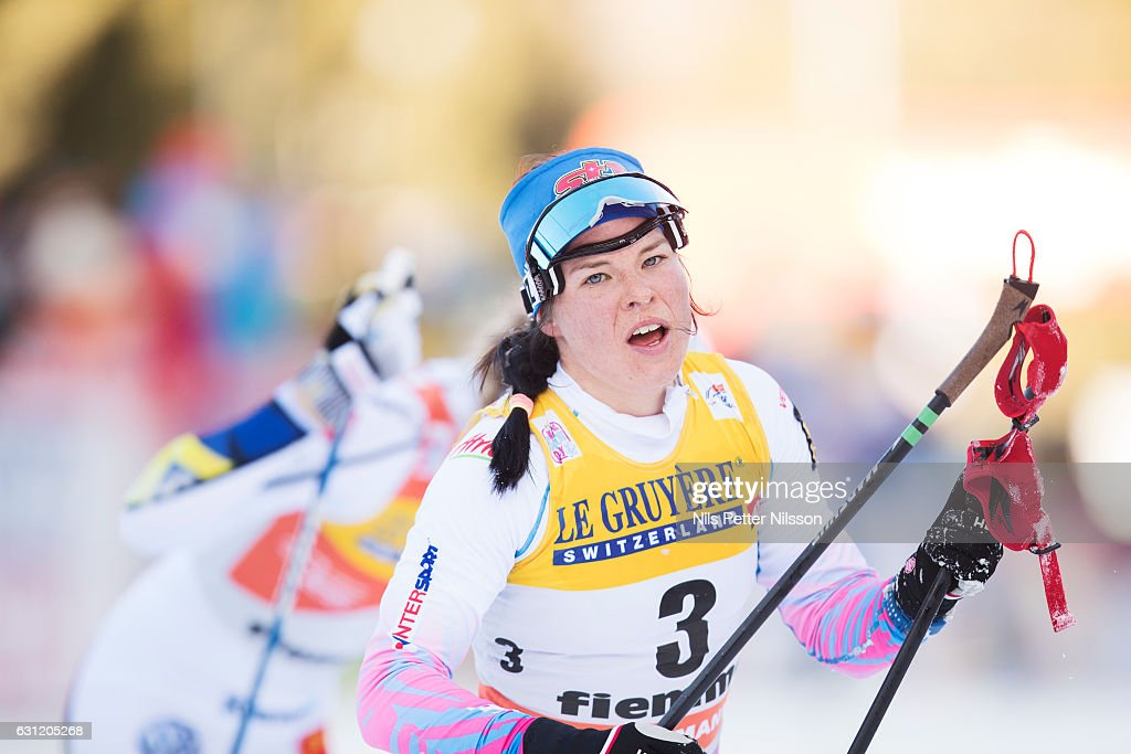 Krista Parmakoski of Finland competes during the women's 9 km F Pursuit on January 8, 2017 in Val di Fiemme, Italy.