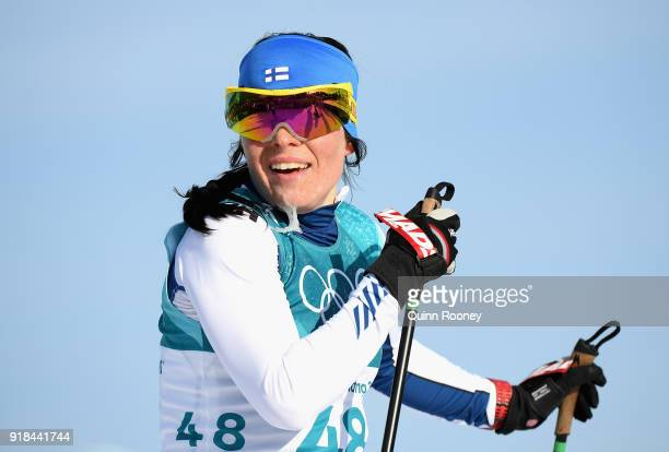 Krista Parmakoski of Finland reacts in the finish area during the CrossCountry Skiing Ladies' 10 km Free on day six of the PyeongChang 2018 Winter...
