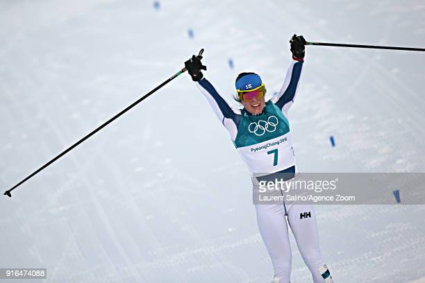 Krista Parmakoski of Finland wins the bronze medal during the CrossCountry Women's Skiathlon at Alpensia CrossCountry Centre on February 10 2018 in...