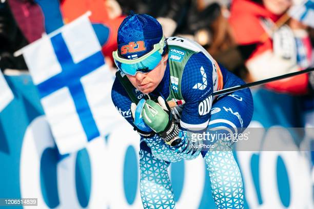 Krista Pärmäkoski competes during the women's 10.0 km cross-country interval of the FIS Cross Country World Cup in Lahti, Finland, on February 29,...