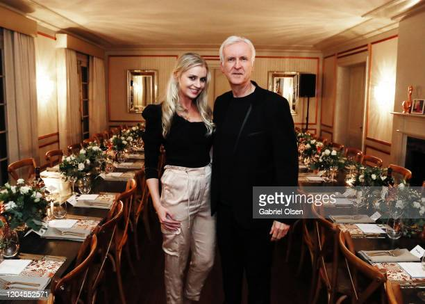 Krista Reischl and Director James Cameron attends Red Carpet Green Dress at the Private Residence of Jonas Tahlin CEO of Absolut Elyx on February 06...