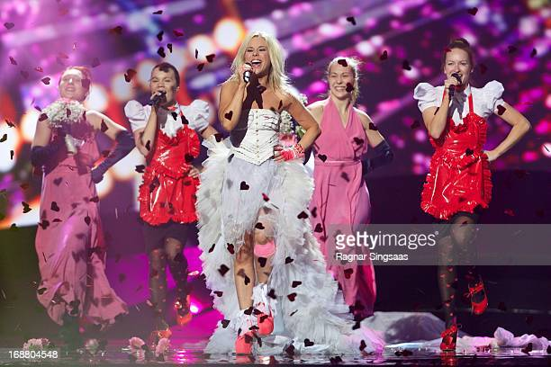 Krista Siegfrids of Finland performs at a dress rehearsal the day before the second semi final of the Eurovision Song Contest 2013 at Malmo Arena on...