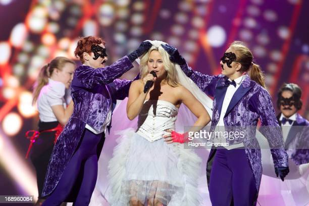 Krista Siegfrids of Finland performs during a dress rehearsal ahead of the finals of the Eurovision Song Contest 2013 at Malmo Arena on May 17 2013...