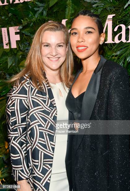 Krista Smith and Alexandra Shipp wearing Max Mara attend the Max Mara Celebration for Alexandra Shipp 2018 Women In Film Max Mara Face Of The Future...