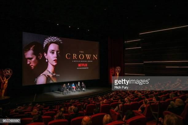 """Krista Smith, Peter Morgan, Claire Foy, Vanessa Kirby and Jane Petrie speak onstage during the For Your Consideration event for Netflix's """"The Crown""""..."""