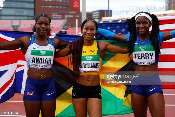 Kristal Awuah of Great Britain Briana Williams of Jamaica and Twanisha Terry of The USA celebrate after winning medals in the final of the women's...
