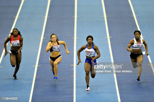 Kristal Awuah of Great Britain wins in Heat 1 of the Womens 60m during Day One of the SPAR British Athletics Indoor Championships at Arena Birmingham...