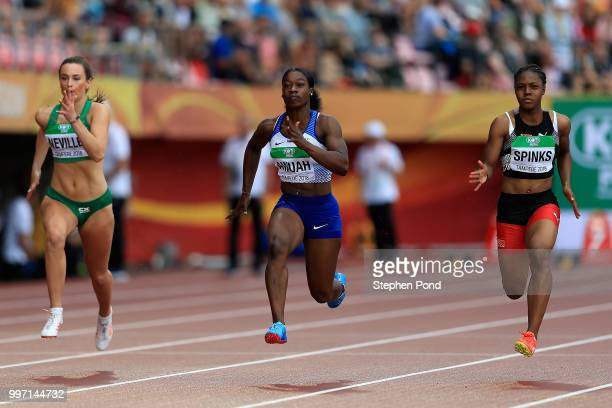 Kristal Awuh of Great Britain in action during heat 3 of the women's 100m semi finals on day three of The IAAF World U20 Championships on July 12...