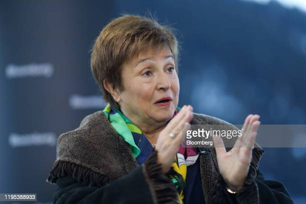 Kristalina Georgieva, managing director of the International Monetary Fund , gestures as he speaks during a Bloomberg Television interview on day...
