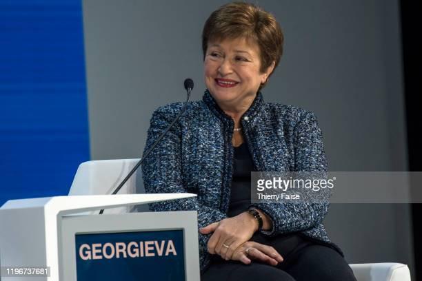 Kristalina Georgieva managing director of the International Monetary Fund addresses a panel during the World Economic Forum in Davos