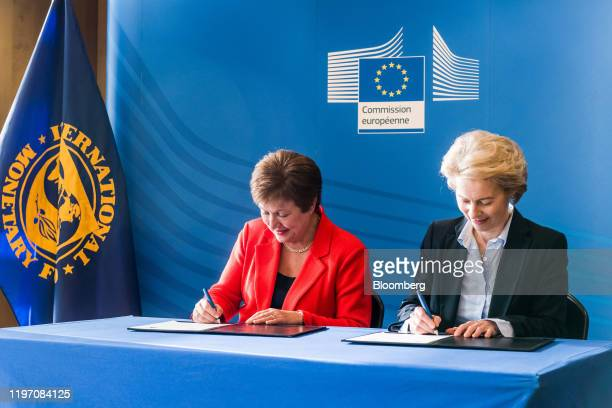 Kristalina Georgieva, managing director of the International Monetary Fund , left, and Ursula von der Leyen, president of the European Commission,...