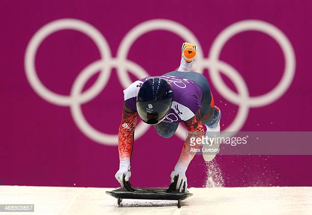 Kristan Bromley of Great Britain in action during a Men's Skeleton training session on Day 3 of the Sochi 2014 Winter Olympics at the Sanki Sliding...