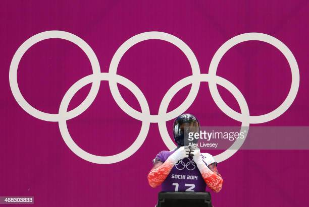 Kristan Bromley of Great Britain prepares to make a run during a Men's Skeleton training session on Day 3 of the Sochi 2014 Winter Olympics at the...