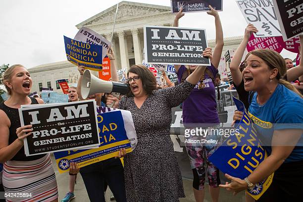 Kristan Hawkins president of Students for Life center and other prolife protesters clash with prochoice protesters in front of the US Supreme Court...
