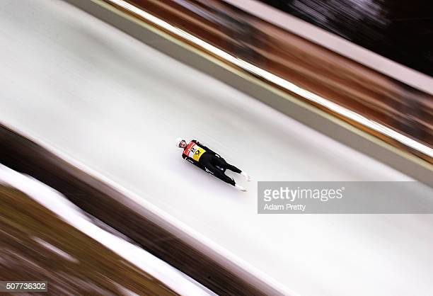 Kristaps Maurins of Japan completes his first run in the Men's Luge during Day 2 of the Luge World Championships at Deutsche Post Eisarena Koenigssee...