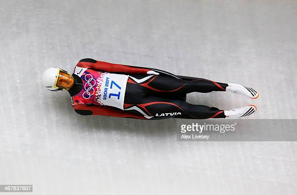 Kristaps Maurins of Latvia makes a run during the Luge Men's Singles on Day 1 of the Sochi 2014 Winter Olympics at the Sliding Center Sanki on...