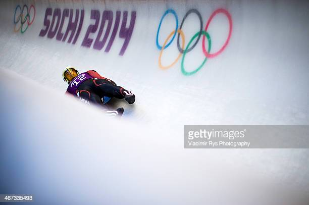 Kristaps Maurins of Latvia takes part at the Luge Men's Singles Training session ahead of the Sochi 2014 Winter Olympics at the Sanki Sliding Center...