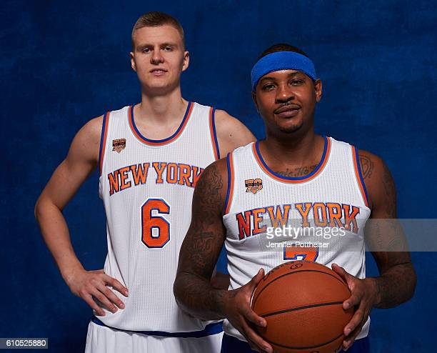 Kristaps Porzingis and Carmelo Anthony of the New York Knicks pose for a portrait during media day at the Ritz Carlton in White Plains New York on...
